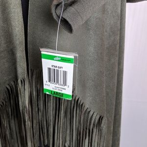INC International Concepts Sweaters - INC | Olive Drab Faux Suede Fringed Cardigan Sz Lg